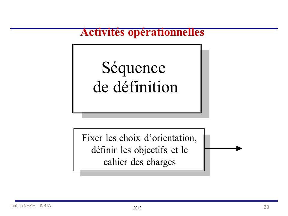 Jérôme VEZIE – INSTA 2010 68 Séquence de définition Fixer les choix d'orientation, définir les objectifs et le cahier des charges Activités opérationn