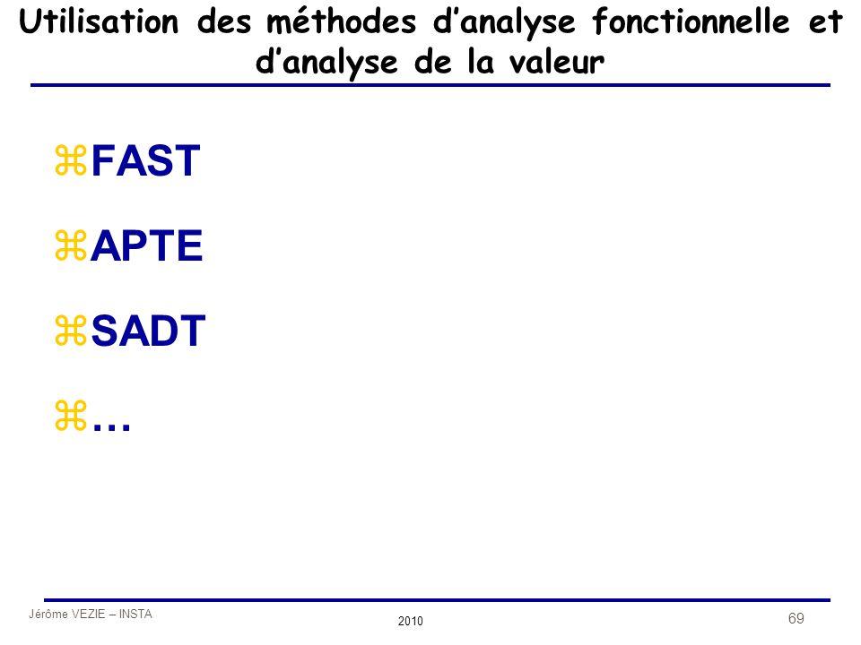 Jérôme VEZIE – INSTA 2010 69 Utilisation des méthodes d'analyse fonctionnelle et d'analyse de la valeur zFAST zAPTE zSADT z…