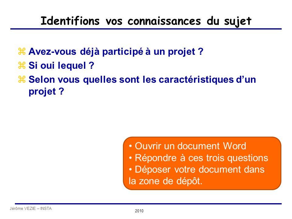 Jérôme VEZIE – INSTA 2010 Identifions vos connaissances du sujet zAvez-vous déjà participé à un projet ? zSi oui lequel ? zSelon vous quelles sont les
