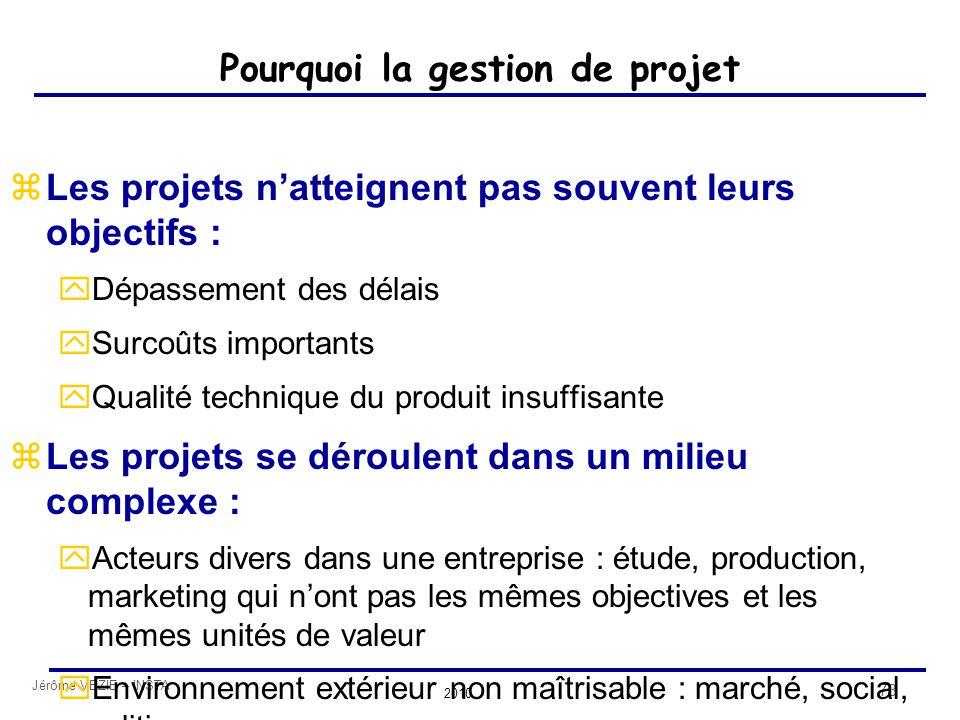 Jérôme VEZIE – INSTA 2010 73 Pourquoi la gestion de projet zLes projets n'atteignent pas souvent leurs objectifs : yDépassement des délais ySurcoûts i