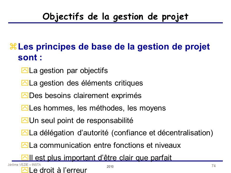 Jérôme VEZIE – INSTA 2010 74 Objectifs de la gestion de projet zLes principes de base de la gestion de projet sont : yLa gestion par objectifs yLa ges