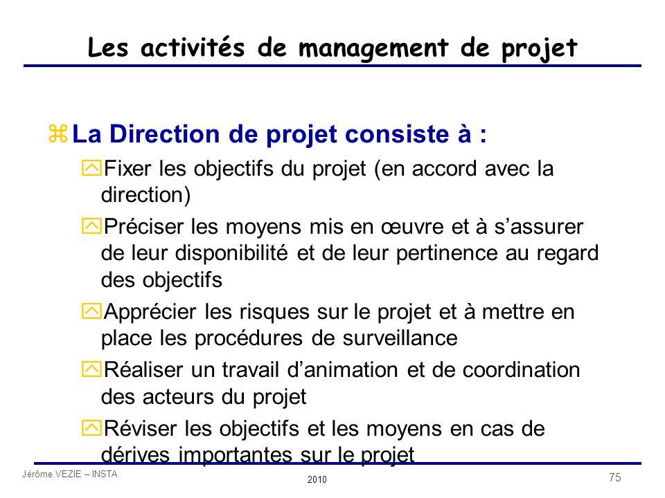 Jérôme VEZIE – INSTA 2010 75 Les activités de management de projet zLa Direction de projet consiste à : yFixer les objectifs du projet (en accord avec