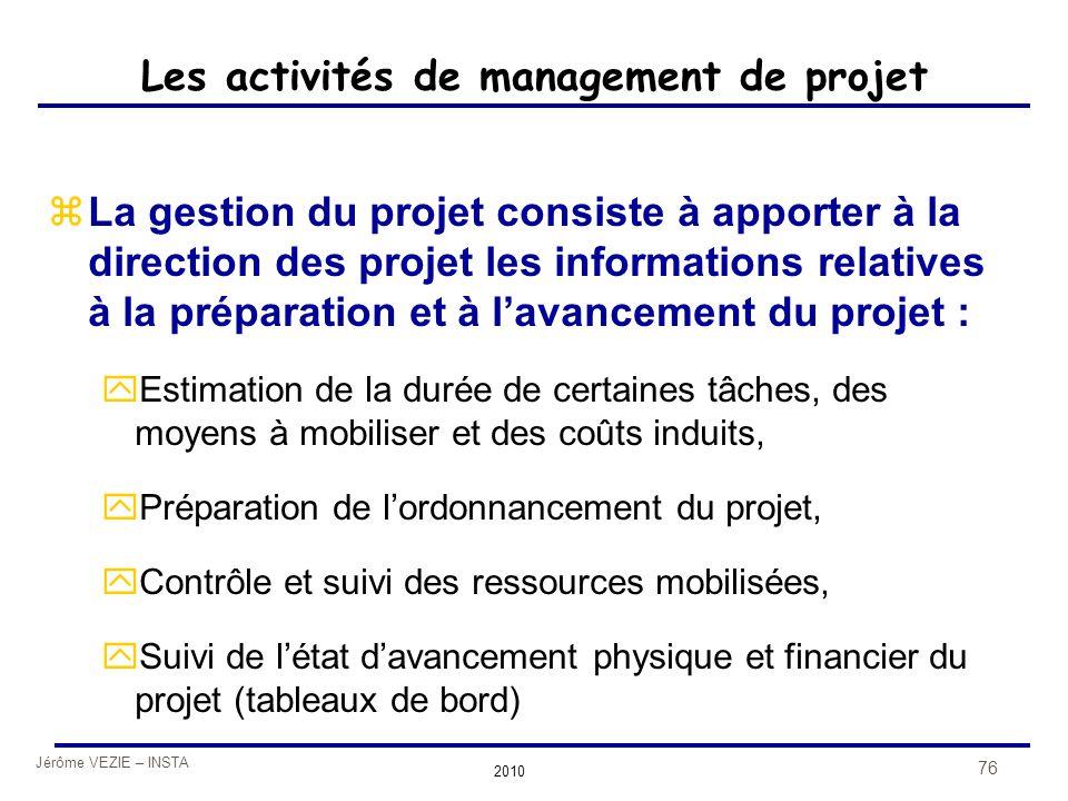 Jérôme VEZIE – INSTA 2010 76 Les activités de management de projet zLa gestion du projet consiste à apporter à la direction des projet les information