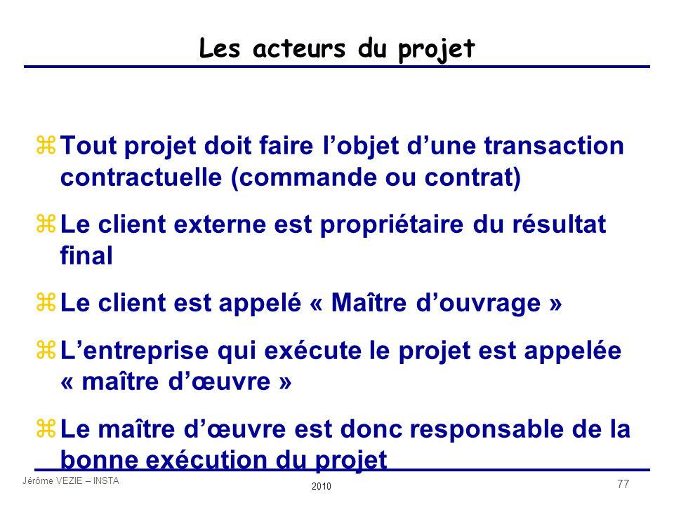 Jérôme VEZIE – INSTA 2010 77 Les acteurs du projet zTout projet doit faire l'objet d'une transaction contractuelle (commande ou contrat) zLe client ex