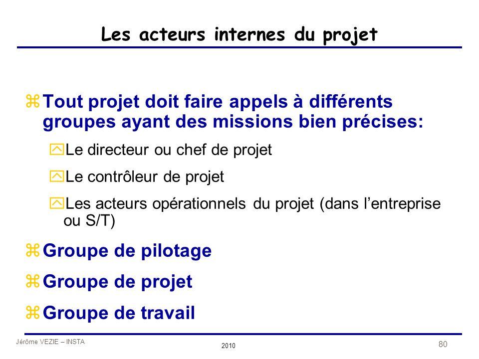 Jérôme VEZIE – INSTA 2010 80 Les acteurs internes du projet zTout projet doit faire appels à différents groupes ayant des missions bien précises: yLe
