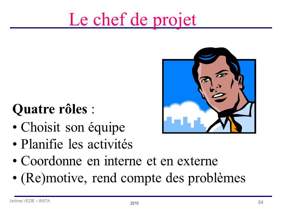 Jérôme VEZIE – INSTA 2010 84 Le chef de projet Quatre rôles : • Choisit son équipe • Planifie les activités • Coordonne en interne et en externe • (Re