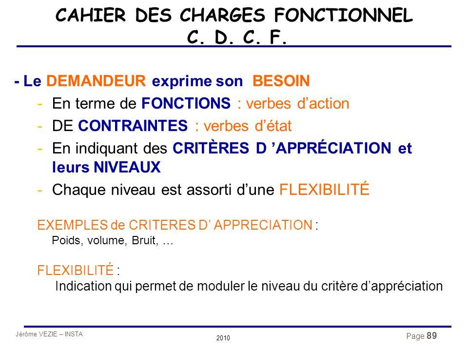 Jérôme VEZIE – INSTA 2010 Page 89 CAHIER DES CHARGES FONCTIONNEL C. D. C. F. - Le DEMANDEUR exprime son BESOIN -En terme de FONCTIONS : verbes d'actio
