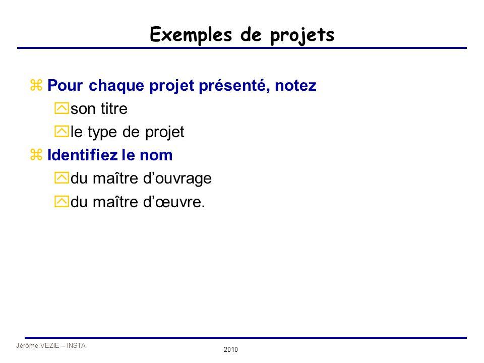 Jérôme VEZIE – INSTA 2010 Exemples de projets zPour chaque projet présenté, notez yson titre yle type de projet zIdentifiez le nom ydu maître d'ouvrag