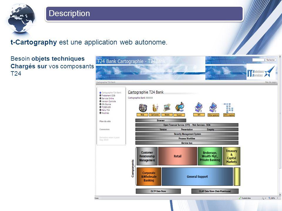 Description t-Cartography est une application web autonome. Besoin objets techniques Chargés sur vos composants T24 Main page of the application