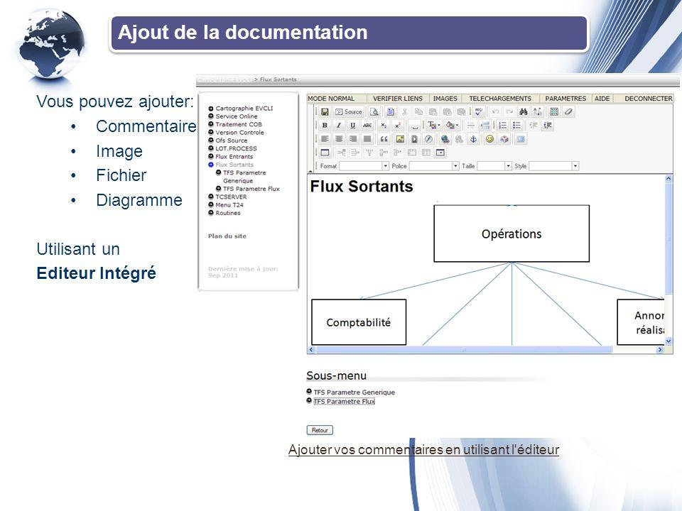 Ajout de la documentation Vous pouvez ajouter: •Commentaire •Image •Fichier •Diagramme Utilisant un Editeur Intégré Ajouter vos commentaires en utilisant l éditeur