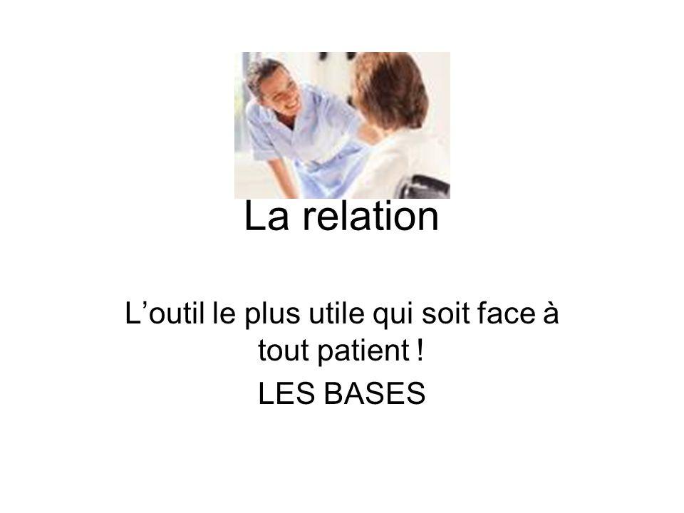 La relation L'outil le plus utile qui soit face à tout patient ! LES BASES