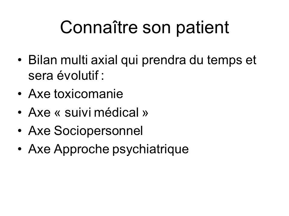 Connaître son patient •Bilan multi axial qui prendra du temps et sera évolutif : •Axe toxicomanie •Axe « suivi médical » •Axe Sociopersonnel •Axe Approche psychiatrique