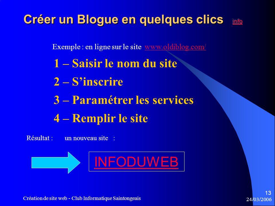 24/03/2006 Création de site web - Club Informatique Saintongeais 13 1 – Saisir le nom du site 2 – S'inscrire 3 – Paramétrer les services 4 – Remplir le site Exemple : en ligne sur le site www.oldiblog.com/www.oldiblog.com/ Résultat : un nouveau site : INFODUWEB
