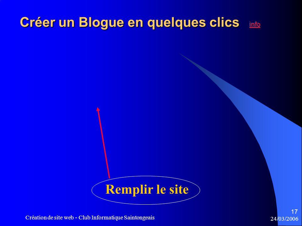 24/03/2006 Création de site web - Club Informatique Saintongeais 17 Remplir le site