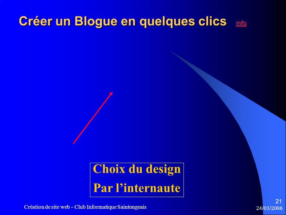 24/03/2006 Création de site web - Club Informatique Saintongeais 21 Choix du design Par l'internaute