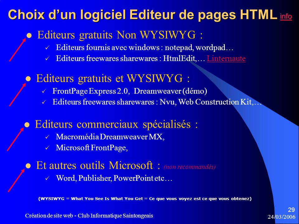 24/03/2006 Création de site web - Club Informatique Saintongeais 29  Editeurs fournis avec windows : notepad, wordpad…  Editeurs freewares shareware