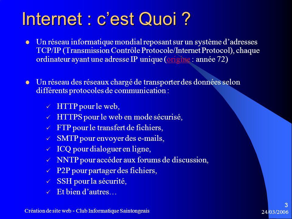 24/03/2006 Création de site web - Club Informatique Saintongeais 14 S'inscrire