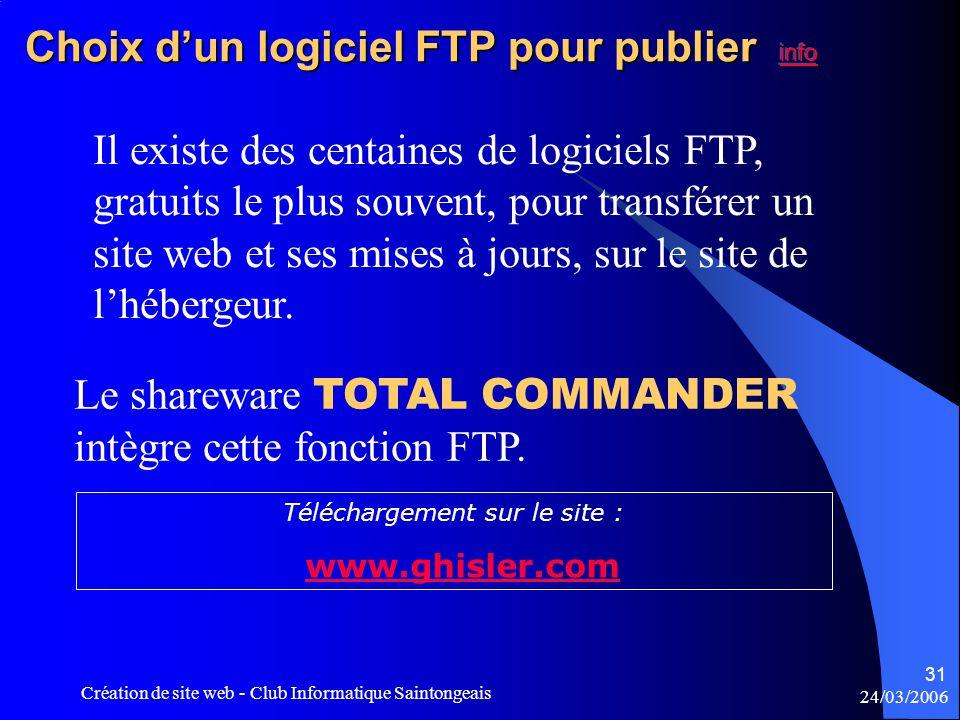 24/03/2006 Création de site web - Club Informatique Saintongeais 31 Il existe des centaines de logiciels FTP, gratuits le plus souvent, pour transférer un site web et ses mises à jours, sur le site de l'hébergeur.