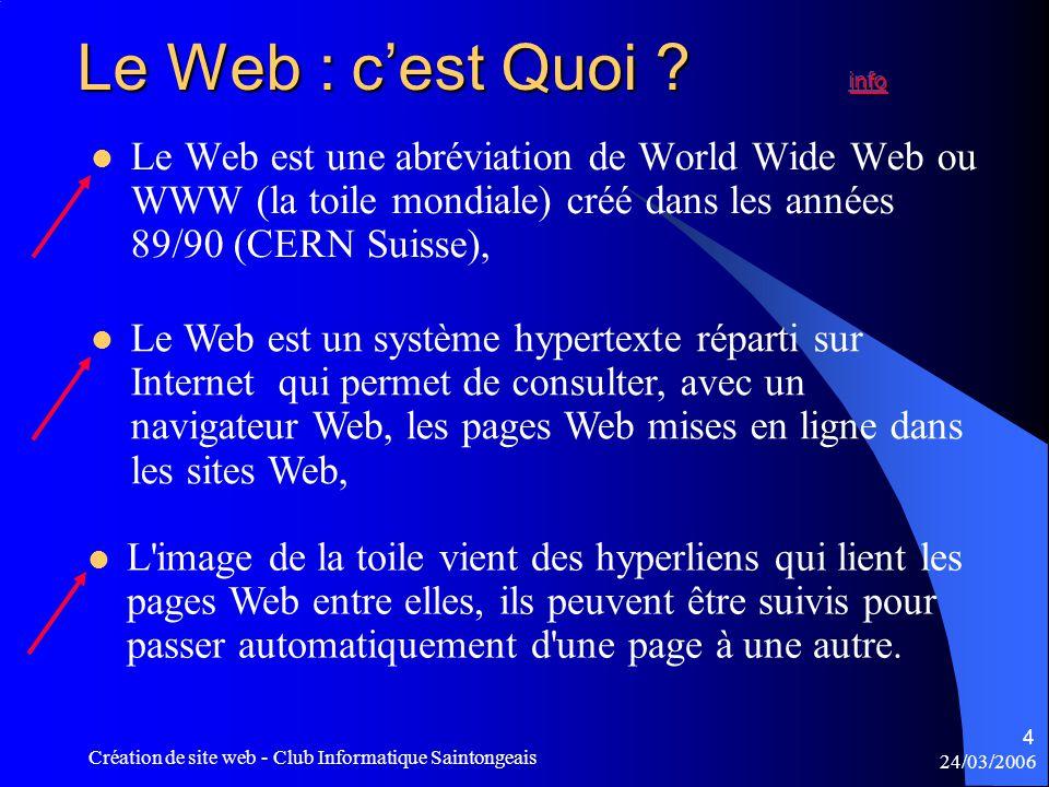 24/03/2006 Création de site web - Club Informatique Saintongeais 4  Le Web est une abréviation de World Wide Web ou WWW (la toile mondiale) créé dans les années 89/90 (CERN Suisse),  Le Web est un système hypertexte réparti sur Internet qui permet de consulter, avec un navigateur Web, les pages Web mises en ligne dans les sites Web,  L image de la toile vient des hyperliens qui lient les pages Web entre elles, ils peuvent être suivis pour passer automatiquement d une page à une autre.