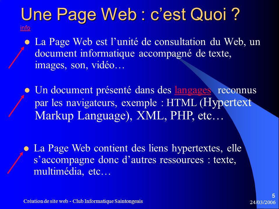 24/03/2006 Création de site web - Club Informatique Saintongeais 16 Remplir le site
