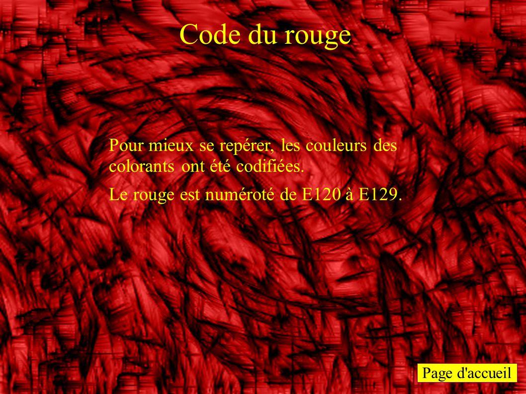 Page d'accueil Code du rouge Pour mieux se repérer, les couleurs des colorants ont été codifiées. Le rouge est numéroté de E120 à E129.