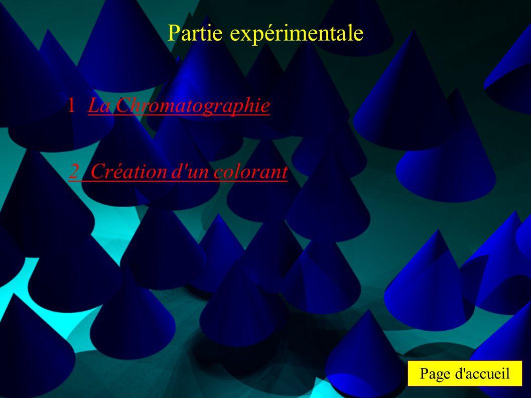 Page d'accueil Partie expérimentale 1 La Chromatographie 2 Création d'un colorant