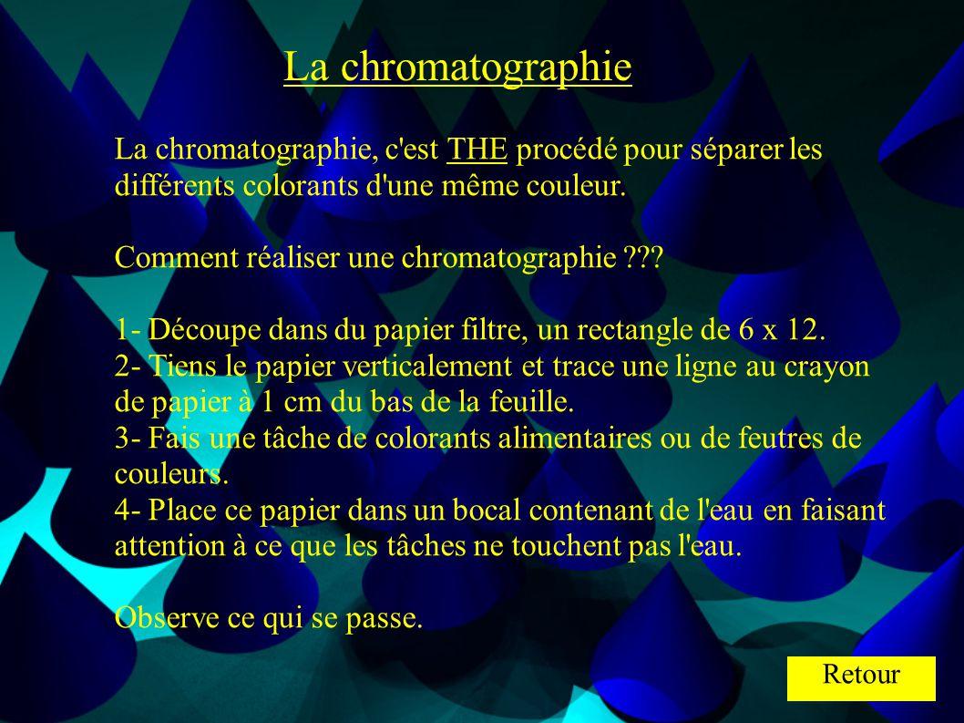 La chromatographie La chromatographie, c'est THE procédé pour séparer les différents colorants d'une même couleur. Comment réaliser une chromatographi