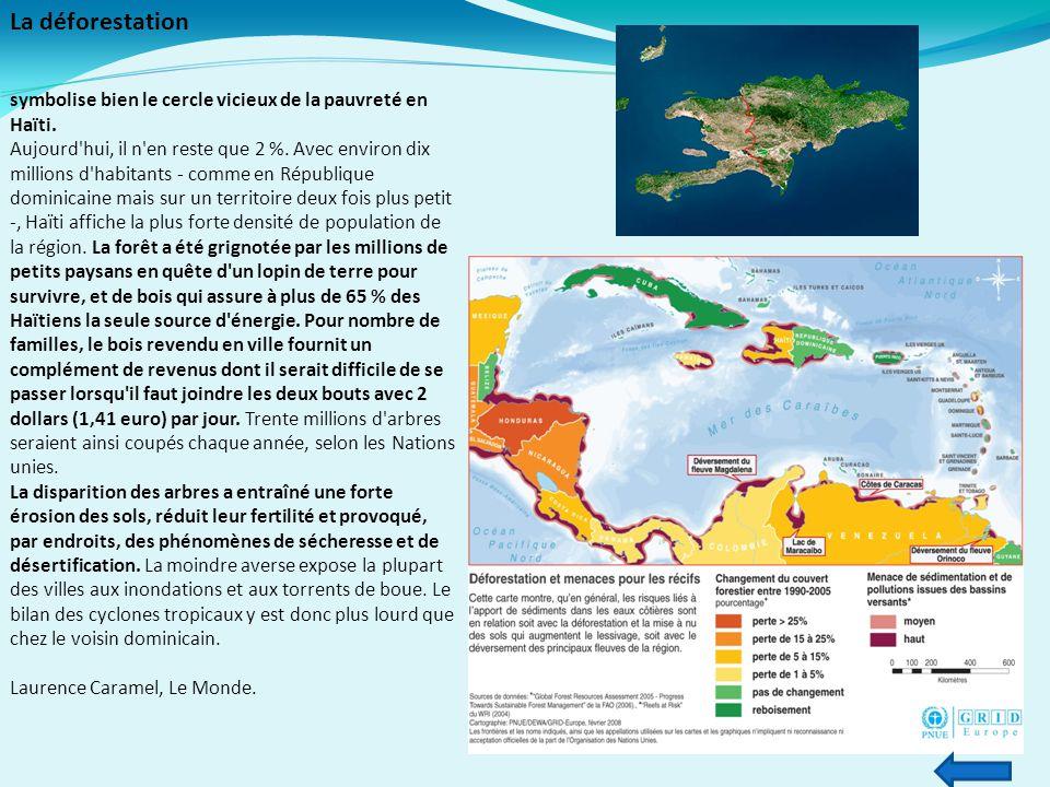 La déforestation symbolise bien le cercle vicieux de la pauvreté en Haïti. Aujourd'hui, il n'en reste que 2 %. Avec environ dix millions d'habitants -