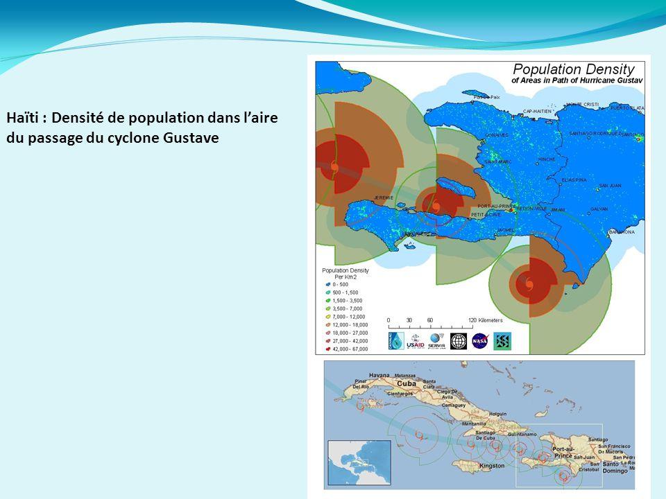 Haïti : Densité de population dans l'aire du passage du cyclone Gustave