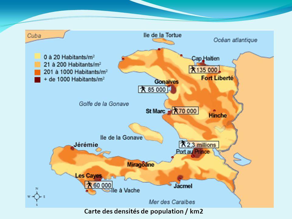 Carte des densités de population / km2 Jérémie