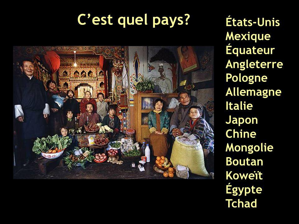C'est quel pays? États-Unis Mexique Équateur Angleterre Pologne Allemagne Italie Japon Chine Mongolie Boutan Koweït Égypte Tchad