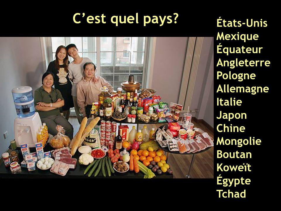 États-Unis Mexique Équateur Angleterre Pologne Allemagne Italie Japon Chine Mongolie Boutan Koweït Égypte Tchad C'est quel pays?