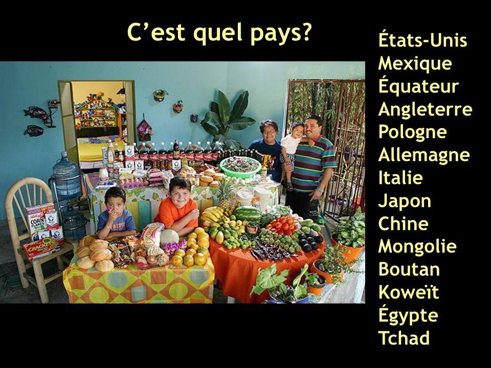 États-Unis Mexique Équateur Angleterre Pologne Allemagne Italie Japon Chine Mongolie Boutan Koweït Égypte Tchad