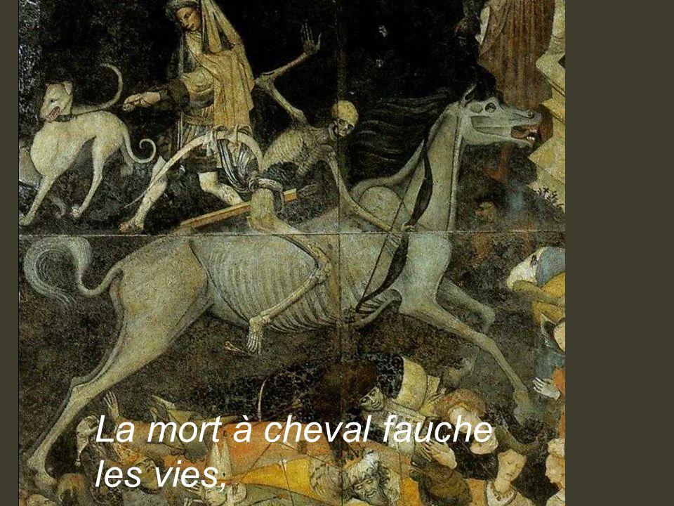•On pense que cette allégorie fut réalisée suite aux épidémies de peste, foudroyantes, qui emportaient tous, manants, seigneurs et évèques sur son passage….