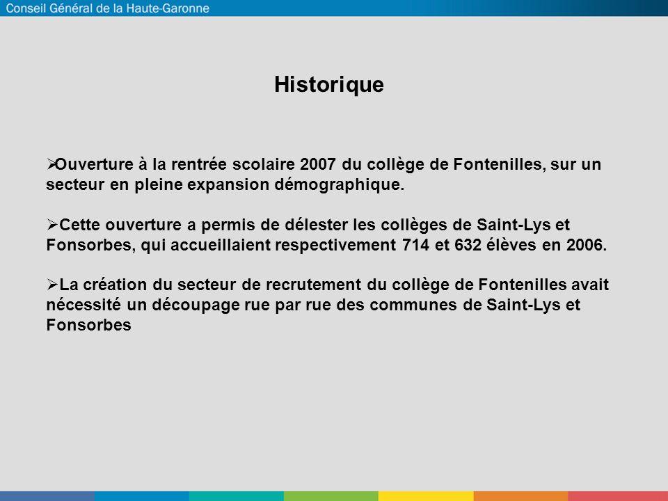 Historique  Ouverture à la rentrée scolaire 2007 du collège de Fontenilles, sur un secteur en pleine expansion démographique.