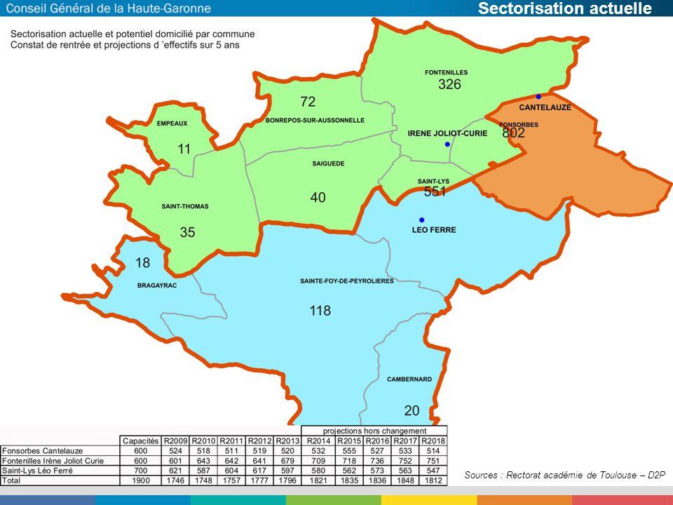 Historique Sources : Rectorat académie de Toulouse – D2P Sectorisation actuelle