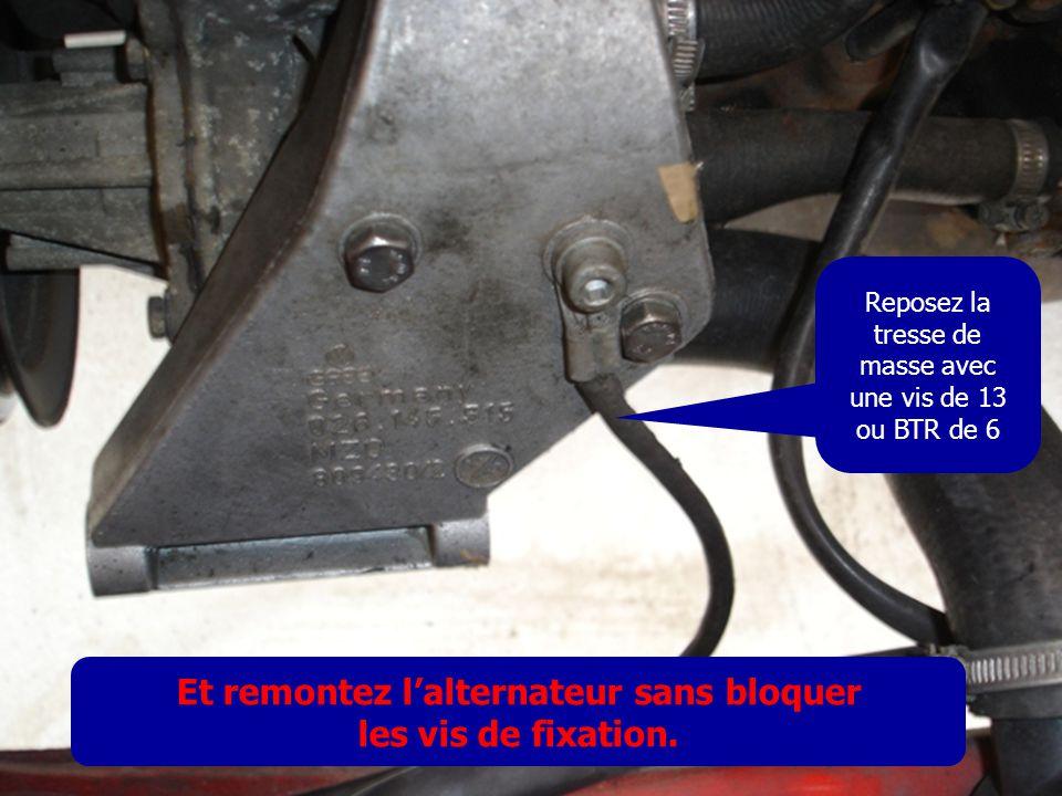 Reposez la tresse de masse avec une vis de 13 ou BTR de 6 Et remontez l'alternateur sans bloquer les vis de fixation.