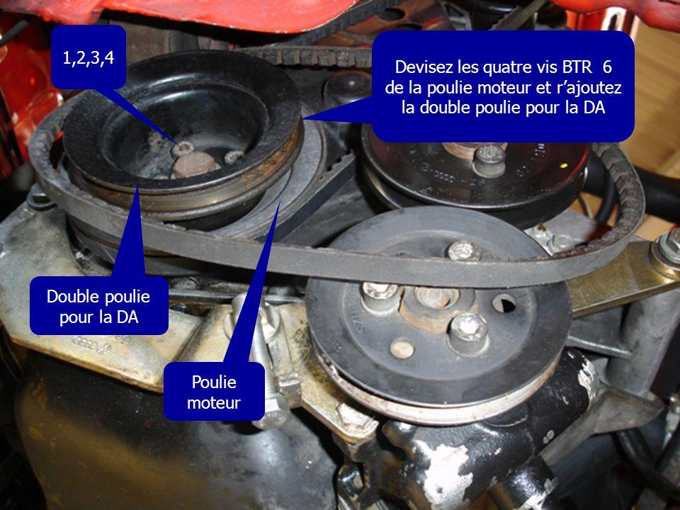 Devisez les quatre vis BTR 6 de la poulie moteur et r'ajoutez la double poulie pour la DA 1,2,3,4 Poulie moteur Double poulie pour la DA
