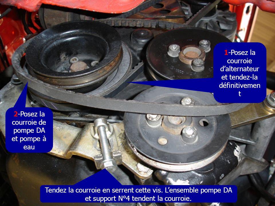 1-Posez la courroie d'alternateur et tendez-la définitivemen t 2-Posez la courroie de pompe DA et pompe à eau Tendez la courroie en serrent cette vis.