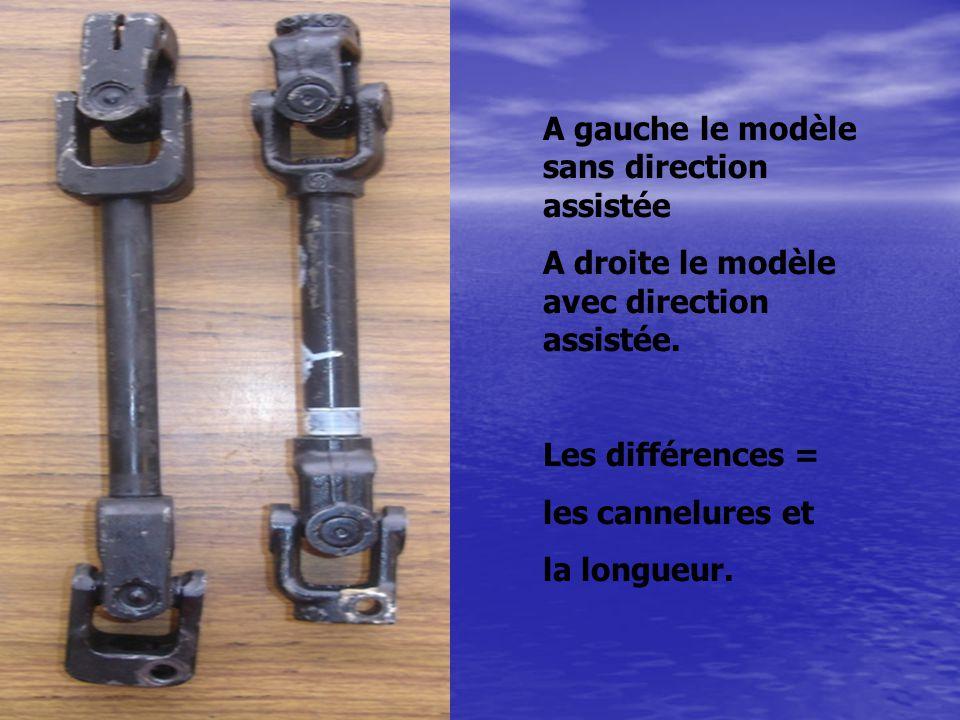 A gauche le modèle sans direction assistée A droite le modèle avec direction assistée. Les différences = les cannelures et la longueur.
