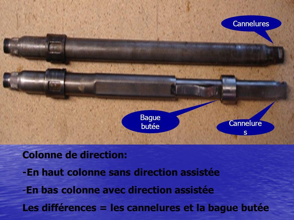 Colonne de direction: -En haut colonne sans direction assistée -En bas colonne avec direction assistée Les différences = les cannelures et la bague bu