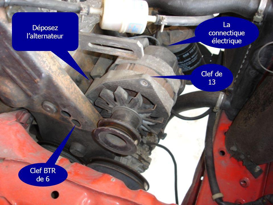 Déposez l'alternateur Clef de 13 Clef BTR de 6 La connectique électrique