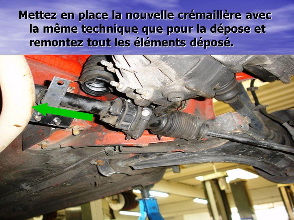 Mettez en place la nouvelle crémaillère avec la même technique que pour la dépose et remontez tout les éléments déposé.