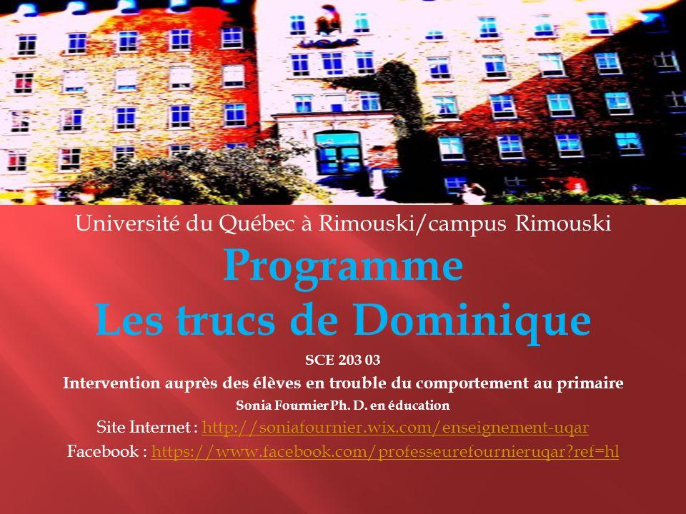 Université du Québec à Rimouski/campus Rimouski Programme Les trucs de Dominique SCE 203 03 Intervention auprès des élèves en trouble du comportement