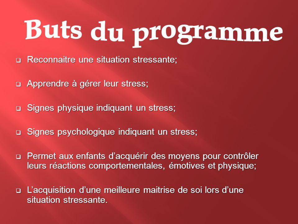  Reconnaitre une situation stressante;  Apprendre à gérer leur stress;  Signes physique indiquant un stress;  Signes psychologique indiquant un st