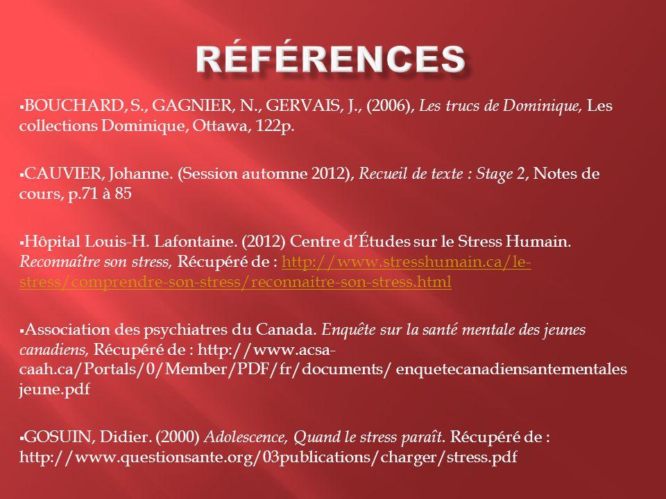  BOUCHARD, S., GAGNIER, N., GERVAIS, J., (2006), Les trucs de Dominique, Les collections Dominique, Ottawa, 122p.  CAUVIER, Johanne. (Session automn