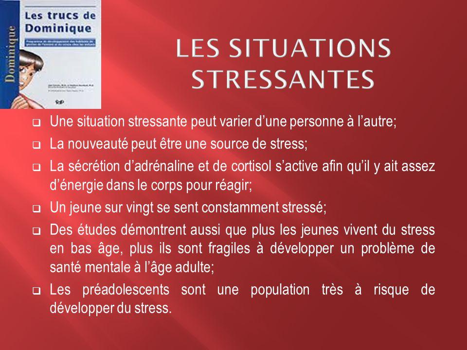  Une situation stressante peut varier d'une personne à l'autre;  La nouveauté peut être une source de stress;  La sécrétion d'adrénaline et de cort
