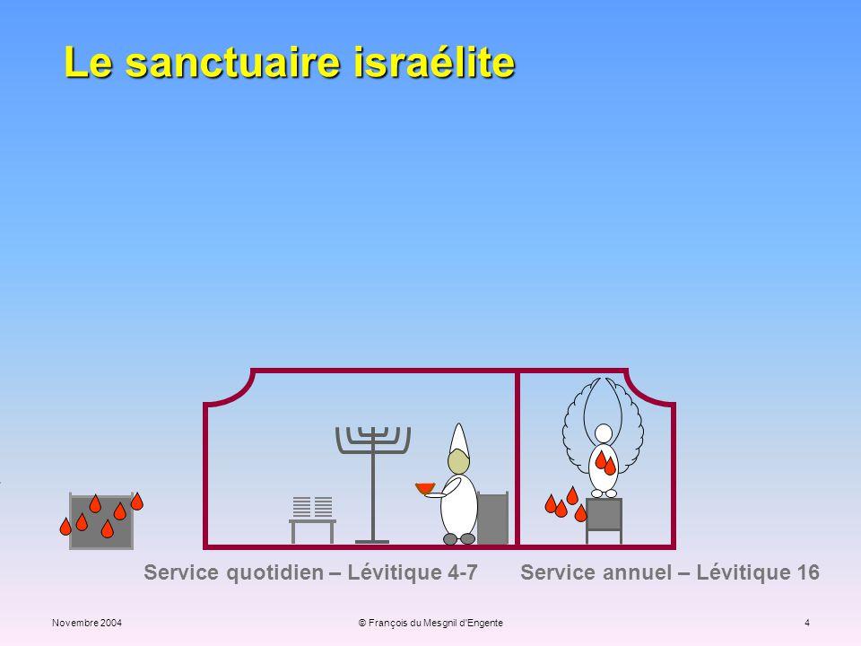 Novembre 2004© François du Mesgnil d'Engente4 Service quotidien – Lévitique 4-7 Service annuel – Lévitique 16 Le sanctuaire israélite