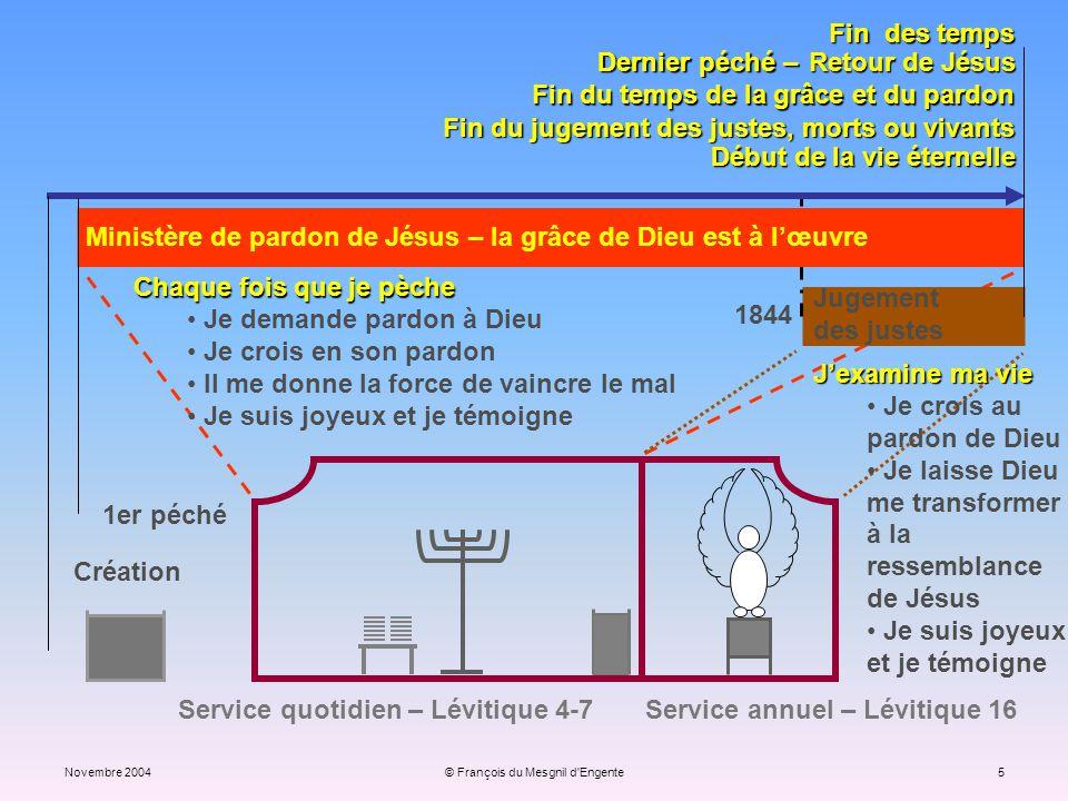 Novembre 2004© François du Mesgnil d'Engente5 Jugement des justes Service quotidien – Lévitique 4-7 Service annuel – Lévitique 16 1er péché Création F