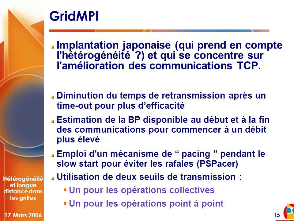 Hétérogénéité et longue distance dans les grilles 17 Mars 2006 15 GridMPI Implantation japonaise (qui prend en compte l hétérogénéité ) et qui se concentre sur l amélioration des communications TCP.